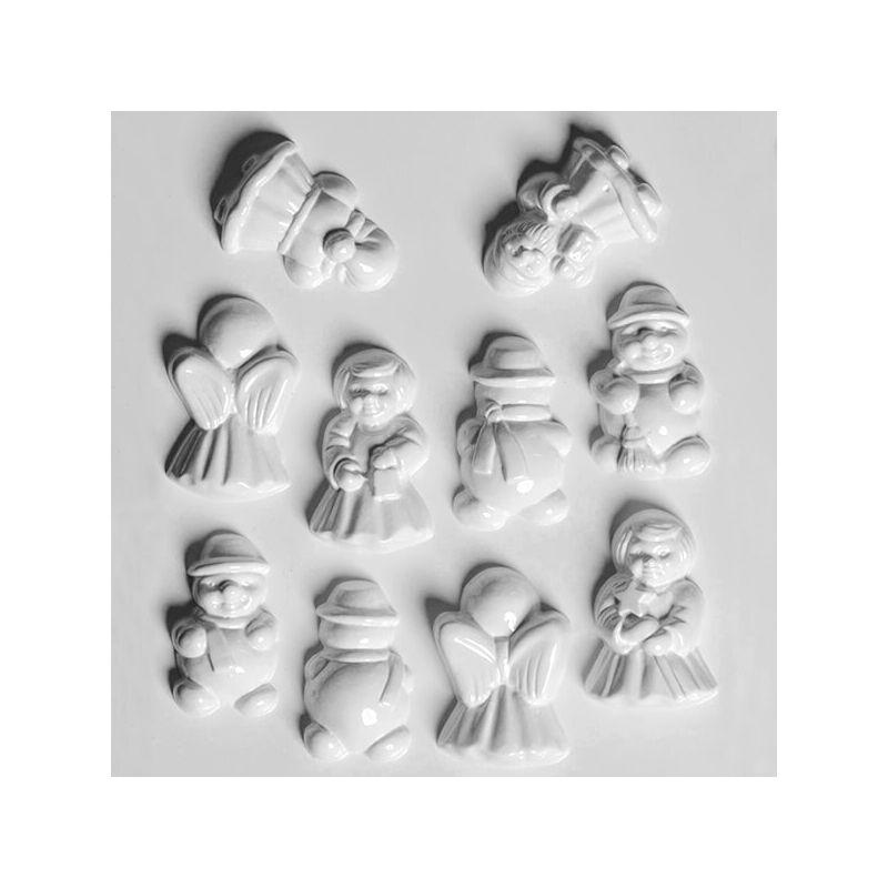 Hobbyművész öntőforma - karácsonyi 3D figurák, 5-5 db