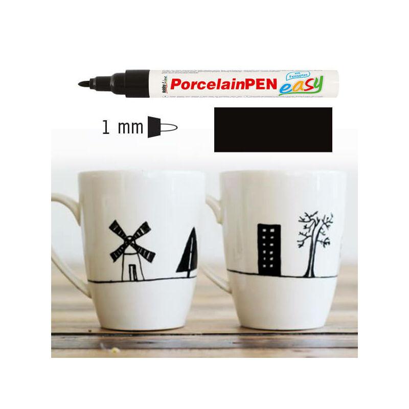 Porcelánfilc, HobbyLine Easy - 34 kontúr fekete