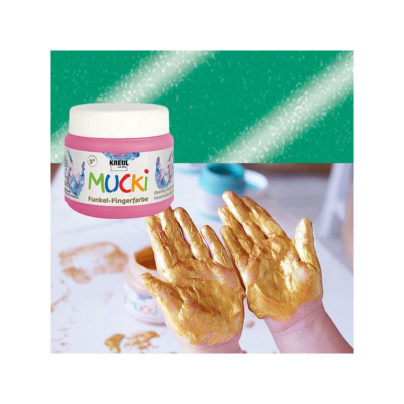 Ujjfesték, Mucki, 150 ml - gyöngyház zöld