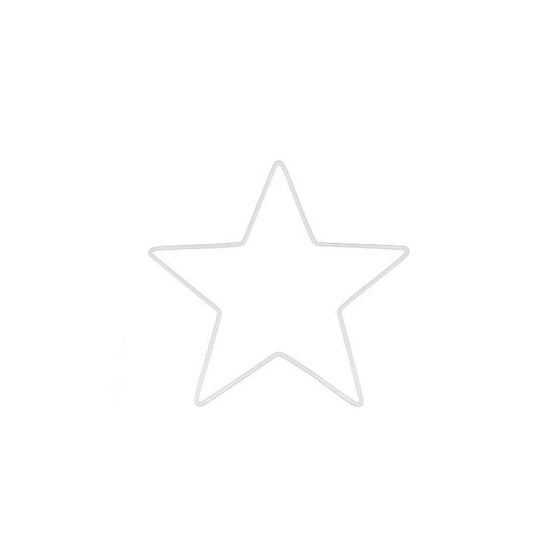 Fém alap, csillag, fehér, álomfogó - 15 cm