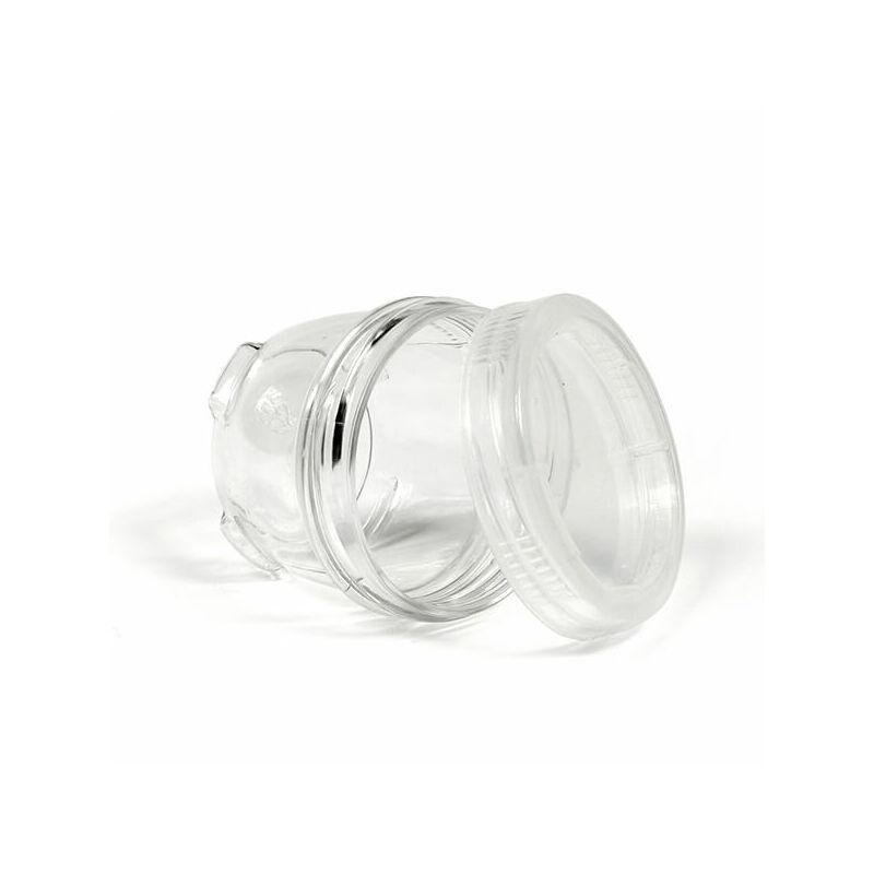 Műanyag doboz, csavaros tégely, 5,5x4 cm