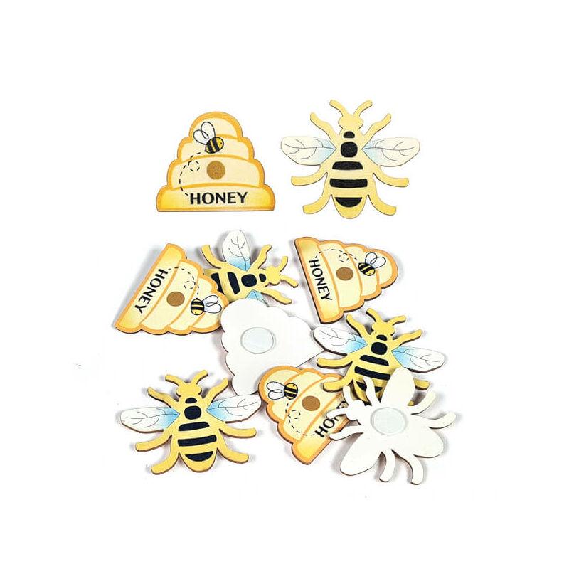 Színes fafigurák - méhecskék és méhkasok, öntapadós, 3,8x3,2 cm, 8 db