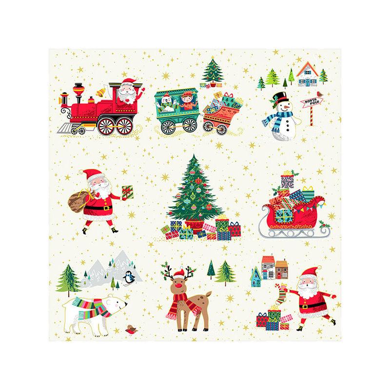 Patchwork anyag - Makower - Christmas 21 Santa Express 2378-1 Placement, Panel, 20cm