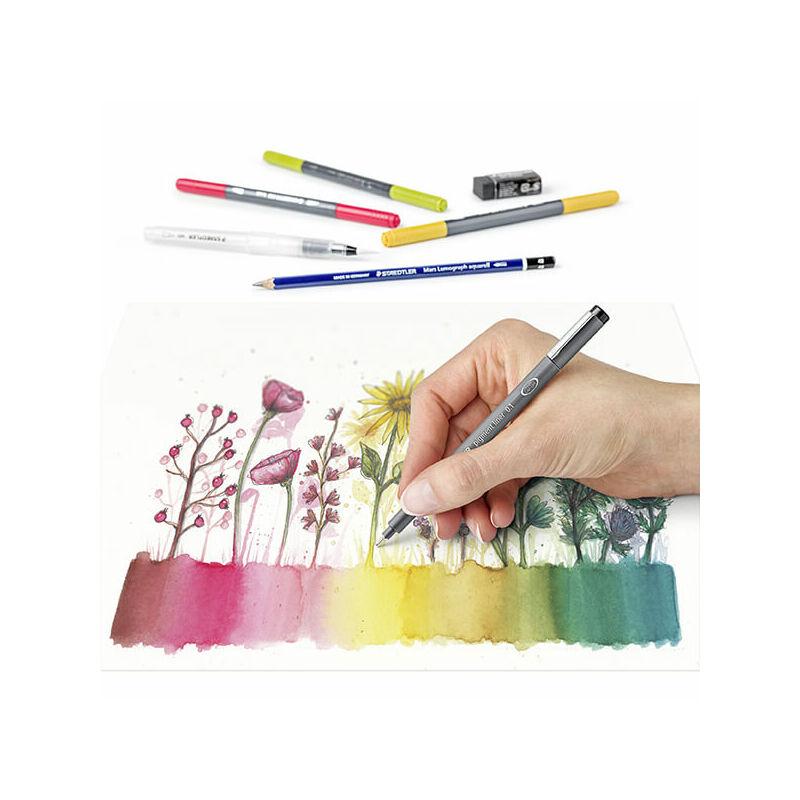 Ecsetirón készlet, Staedtler, Design Journey, Floral watercolour, kétvégű - 12db