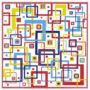 Kontúrmatrica - retró négyzetek, piros, 0496  - AKCIÓS